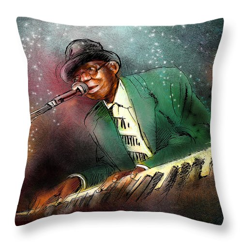 Pinetop Perkins Throw Pillow featuring the painting Pinetop Perkins by Miki De Goodaboom