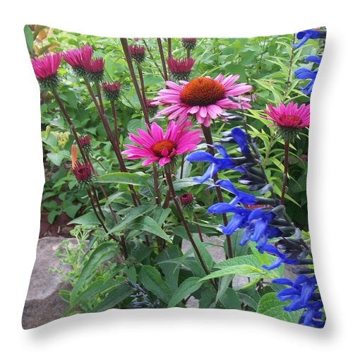 Flowers Throw Pillow featuring the photograph Pink All Over Plus Purple by Anita Burgermeister