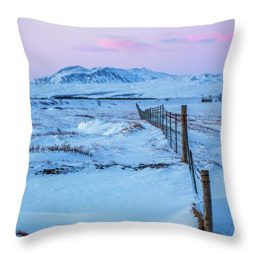 Iceland Throw Pillow featuring the photograph Pink And Blue Sunset by Jean-Claude Ardila