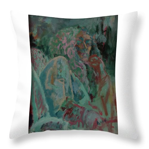 Portrait Throw Pillow featuring the painting Pink And Green Portrait by Lynne Guess
