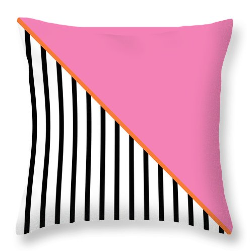 Pink Throw Pillow featuring the digital art Pink And Orange And Black Geometric by Linda Woods