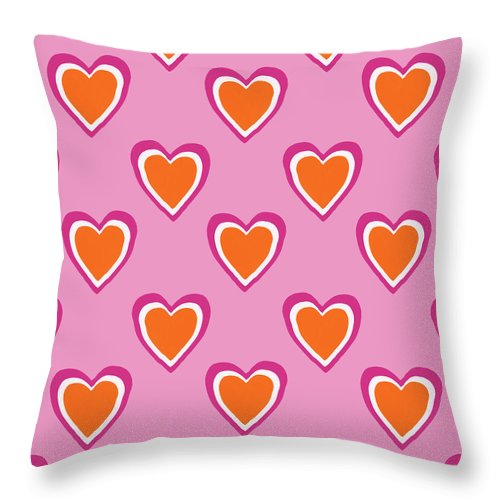 Hearts Throw Pillow featuring the mixed media Pink And Orange Hearts- Art by Linda Woods by Linda Woods