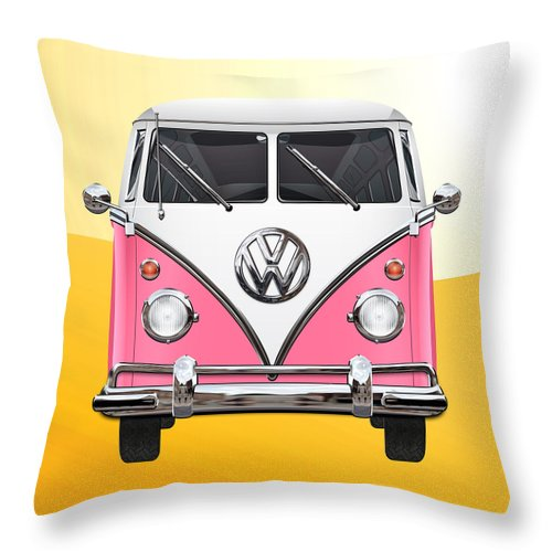 'volkswagen Type 2' Collection By Serge Averbukh Throw Pillow featuring the photograph Pink and White Volkswagen T 1 Samba Bus on Yellow by Serge Averbukh