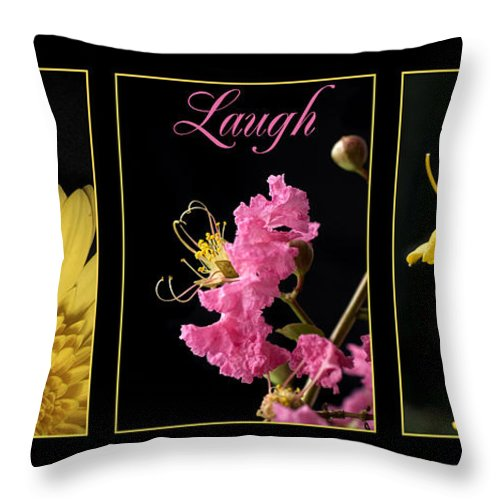 Yellow Throw Pillow featuring the photograph Pink And Yellow Flowers by Jessica Wakefield