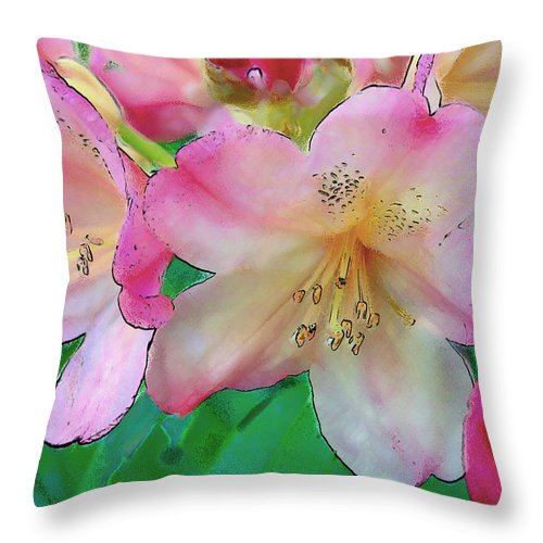 Ebsq Throw Pillow featuring the photograph Pink Azalea by Dee Flouton