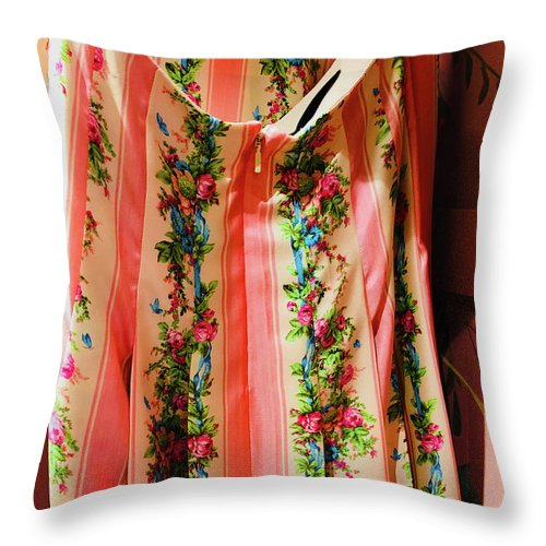 Pink Throw Pillow featuring the photograph Pink Back Zipper by Ceil Diskin