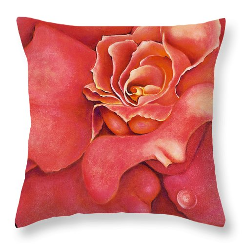 Rose.bloom Throw Pillow featuring the painting Pink Blush by Jordana Sands