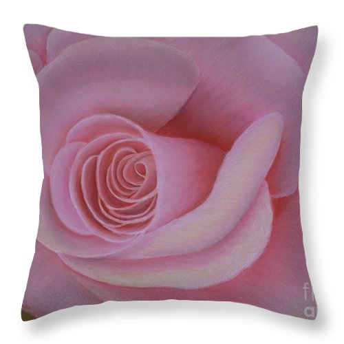 Rose Throw Pillow featuring the painting Pink Blush by Mary Erbert