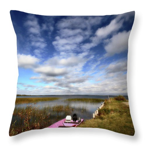 Pink Throw Pillow featuring the digital art Pink Boat In Scenic Saskatchewan by Mark Duffy