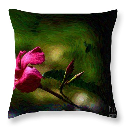 Flower Throw Pillow featuring the photograph Pink Bud by Leslie Revels