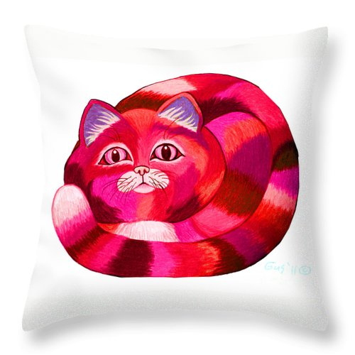 Cat Throw Pillow featuring the drawing Pink Cat 2 by Nick Gustafson