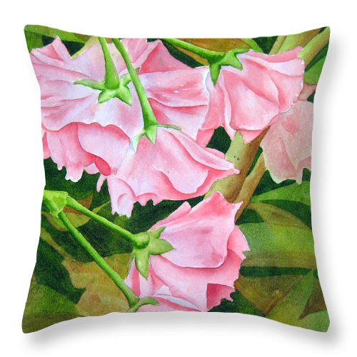 Flower Throw Pillow featuring the painting Pink Cherry Blossoms by Darla Brock