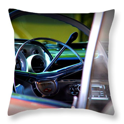 Old American Cars Throw Pillow featuring the photograph Pink Chevy by Susanne Van Hulst
