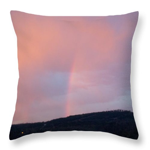 Pink Clouds Throw Pillow featuring the photograph Pink Clouds With Rainbow by Toni Berry