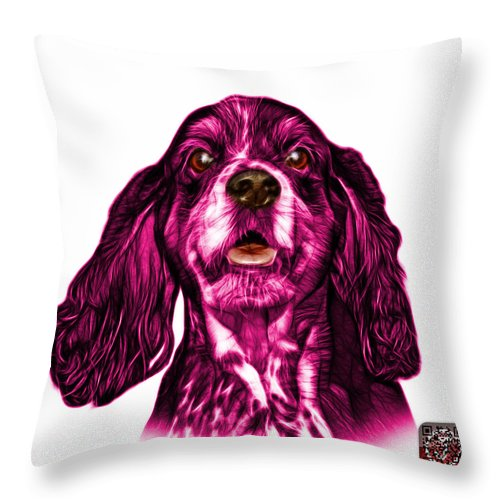 Cocker Spaniel Throw Pillow featuring the mixed media Pink Cocker Spaniel Pop Art - 8249 - Wb by James Ahn