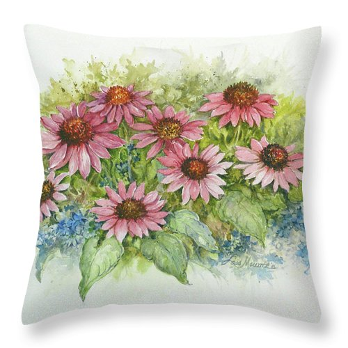 Watercolor Throw Pillow featuring the painting Pink Cone Flowers by Lois Mountz