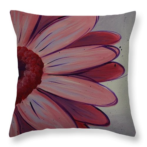 Daisy Throw Pillow featuring the painting Pink Daisy by Emily Page