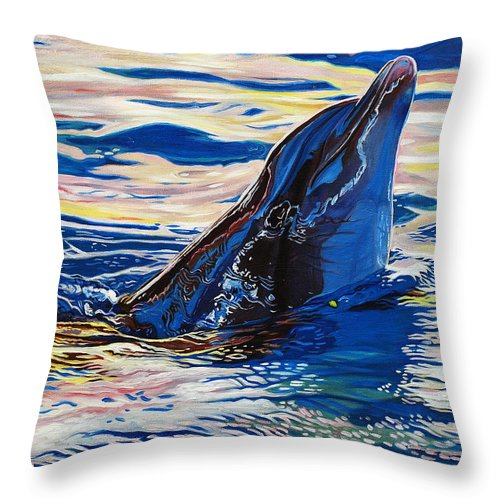 Dolphin Throw Pillow featuring the painting Pink Dolphin by Kelly McNeil