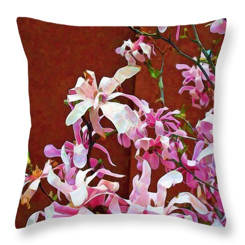 Arrangement Throw Pillow featuring the photograph Pink Floral Arrangement by Joan Minchak