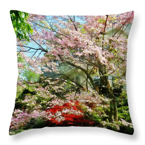 Dogwood Throw Pillow featuring the photograph Pink Flowering Dogwood by Susan Savad