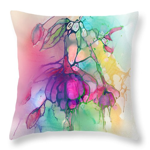 Flower Throw Pillow featuring the mixed media Pink Fuchsia by Arline Wagner