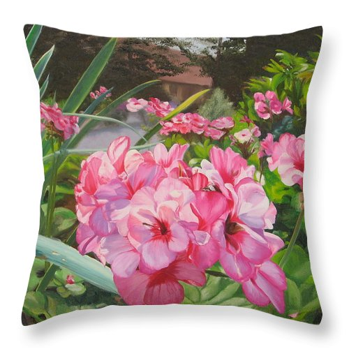 Pink Geraniums Throw Pillow featuring the painting Pink Geraniums by Lea Novak