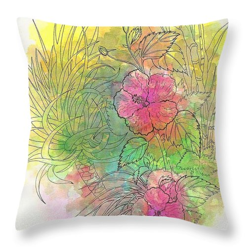 Flowers Throw Pillow featuring the drawing Pink Hibiscus by George I Perez