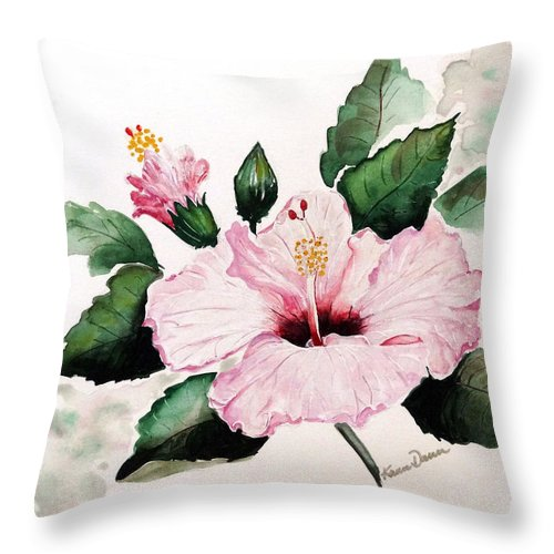 Hibiscus Painting  Floral Painting Flower Pink Hibiscus Tropical Bloom Caribbean Painting Throw Pillow featuring the painting Pink Hibiscus by Karin Dawn Kelshall- Best