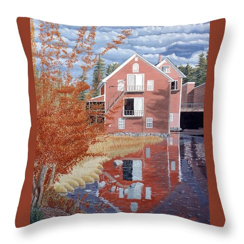 Autumn Throw Pillow featuring the painting Pink House In Autumn by Dominic White