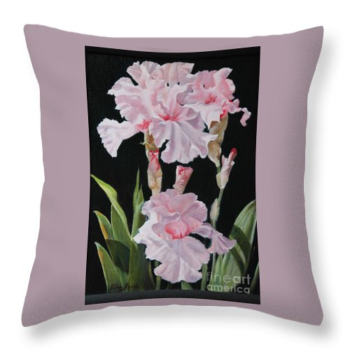 Oil Throw Pillow featuring the painting Pink Iris by Elaine Jacobs