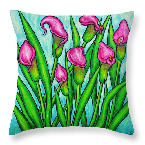 Lisa Lorenz Throw Pillow featuring the painting Pink Ladies by Lisa Lorenz