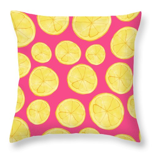 Pink Lemonade Throw Pillow featuring the digital art Pink Lemonade by Allyson Johnson