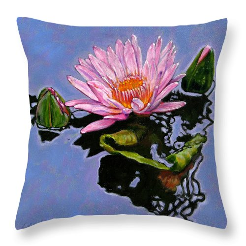Water Lily Throw Pillow featuring the painting Pink Lily with Dancing Reflections by John Lautermilch
