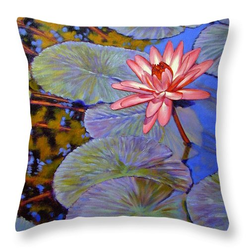 Pink Water Lily Throw Pillow featuring the painting Pink Lily With Silver Pads by John Lautermilch