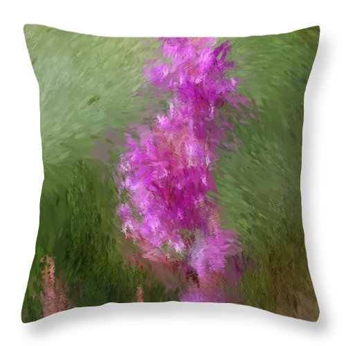 Abstract Throw Pillow featuring the digital art Pink Nature Abstract by David Lane