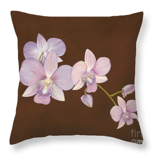 Orchid Throw Pillow featuring the painting Pink Orchids by Shawn Stallings
