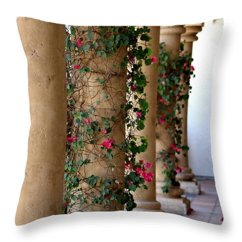 Pink Peacock Throw Pillow featuring the photograph Pink Peacock Colored Bougainvillea Blossoms Climbing Pillars Photograph By Colleen by Colleen Cornelius