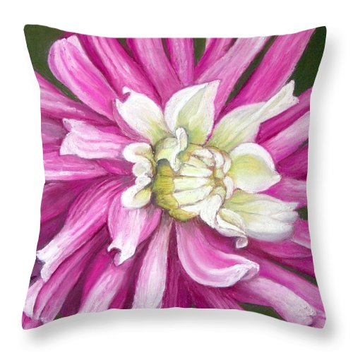 Floral Throw Pillow featuring the painting Pink Petal Blast by Minaz Jantz