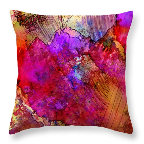 Pink Throw Pillow featuring the painting Pink Petals II by Angela L Walker