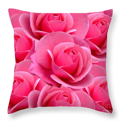 Abstract Throw Pillow featuring the digital art Pink Pink Roses by Julia Underwood