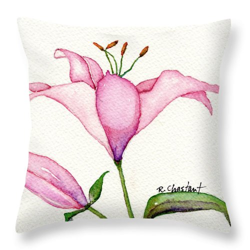 Lily Throw Pillow featuring the painting Pink Promise by Renee Chastant