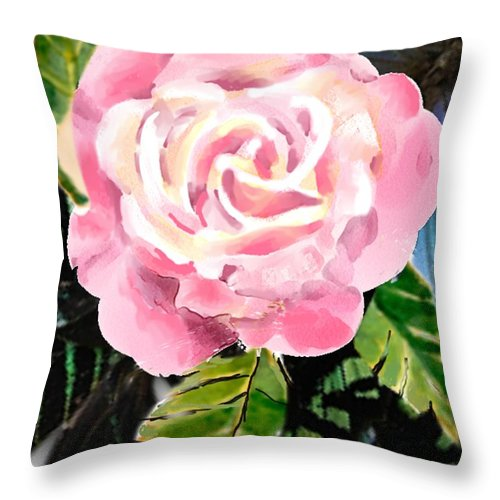 Rose Throw Pillow featuring the digital art Pink Rose by Arline Wagner