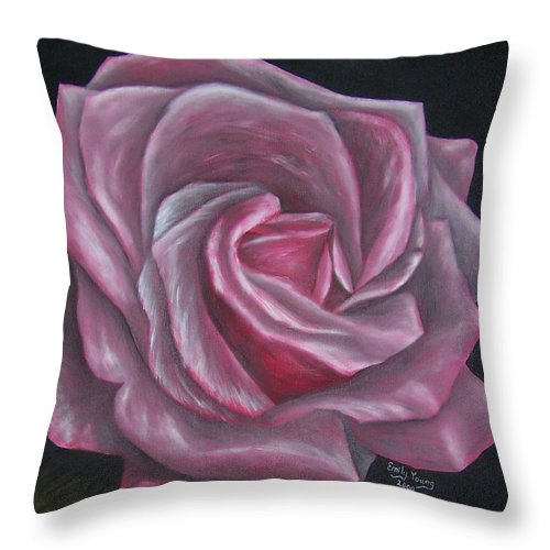 Rose Throw Pillow featuring the painting Pink Rose by Emily Young