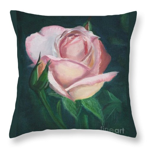 Rose Throw Pillow featuring the painting Pink Rose by Mendy Pedersen