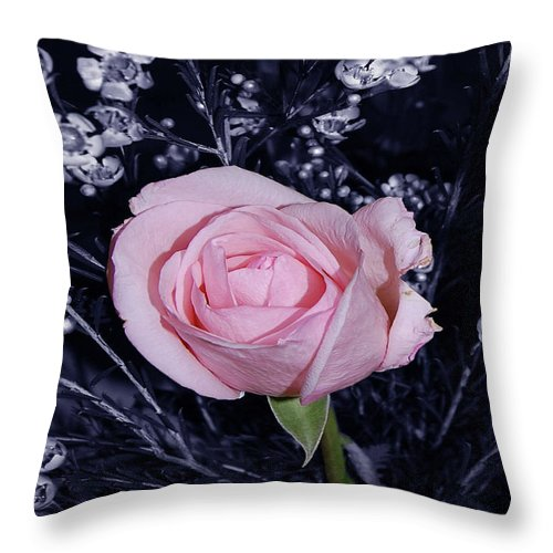 Rose Throw Pillow featuring the digital art Pink Rose Of Imperfection by DigiArt Diaries by Vicky B Fuller