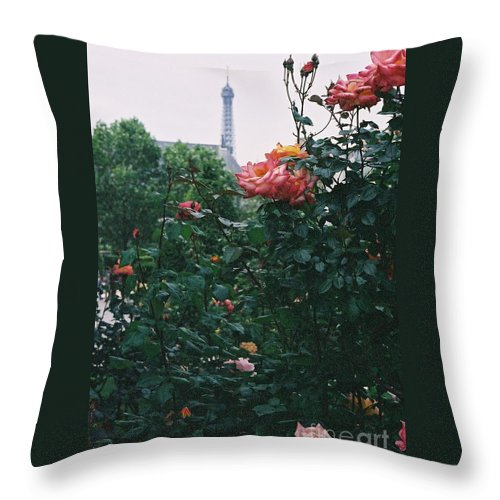 Roses Throw Pillow featuring the photograph Pink Roses And The Eiffel Tower by Nadine Rippelmeyer