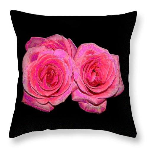Two Pink Roses Throw Pillow featuring the photograph Pink Roses With Enameled Effects by Rose Santuci-Sofranko