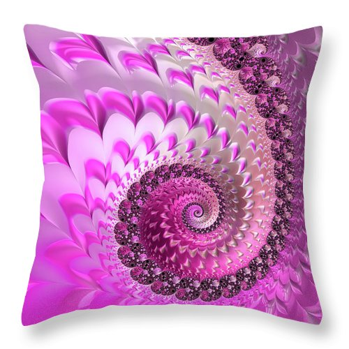Pink Throw Pillow featuring the digital art Pink Spiral With Lovely Hearts by Matthias Hauser