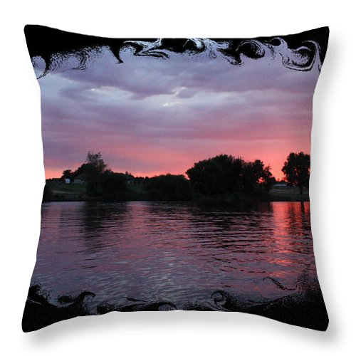 Sunset Throw Pillow featuring the photograph Pink Sunset Panorama With Black Framing by Carol Groenen