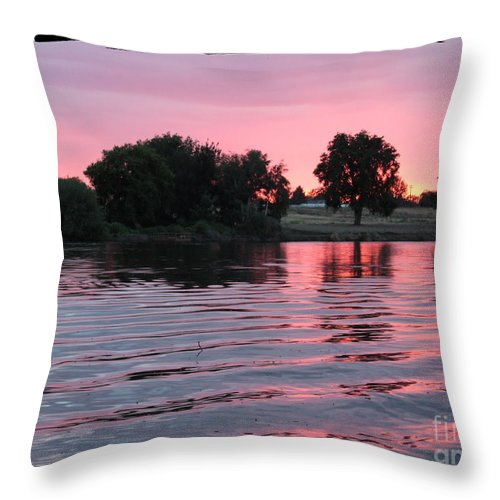 Pink Sunset Throw Pillow featuring the photograph Pink Sunset With Soft Waves In Black Framing by Carol Groenen